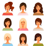 Young girls with various hair style. Cute illustrations of beautiful young girls with various hair style Stock Photo