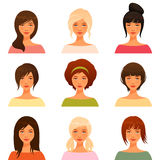 Young girls with various hair style. Cute illustrations of beautiful young girls with various hair style Royalty Free Stock Images