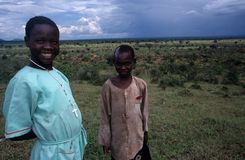 Young girls in a village in Uganda. Royalty Free Stock Photography