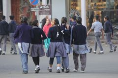 Young Girls walk together to attend the school. Save daughters and Teach daughters is a aim of education of government in new India. Girls from young age are Royalty Free Stock Photo