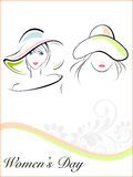 Young girls wearing hat. Vector illustration of beautiful young girls wearing  hat and text on white floral and wave background for Women's Day Stock Photo