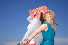 Young girls wearing hats Royalty Free Stock Photography