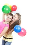 Young Girls With Balloons Over White Royalty Free Stock Photography