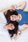 Young girls or woman relaxing Stock Images