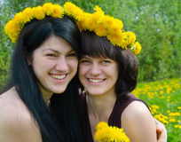 Young girls with wreaths Royalty Free Stock Images
