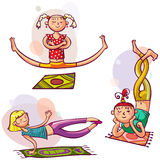 Girls in yoga poses Royalty Free Stock Images