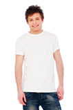 Young glad guy over white background. Portrait of young glad guy over white background royalty free stock image