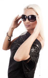 Young glam woman wearing sunglasses Royalty Free Stock Images