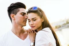 Young glamorous couple expressing sensuality. With eyes closed Royalty Free Stock Images