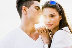 Young glamorous couple expressing sensuality. And togetherness Royalty Free Stock Photos