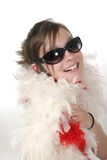 Young Glamour Teen With Feather Boa 1a. Young tween or teen girl wearing sunglasses and a white feather boa Royalty Free Stock Photo