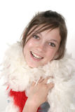Young Glamour Teen With Feather Boa 2a. Young tween or teen girl wearing a white feather boa Royalty Free Stock Photo