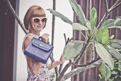 Young glamour woman wearing flower dress posing with luxury handmade snakeskin python handbag. Beautiful stylish girl Stock Photos