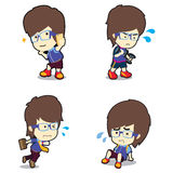 Young glasses boy in many poses cartoon  illustration Royalty Free Stock Images