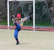 Young goalie. A young goalie performing a kick-out Royalty Free Stock Images