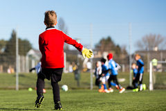 Young goalie during soccer match Stock Image