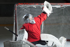 Young goalkeeper catching a puck Stock Images