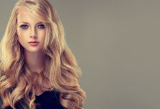 Golden haired woman with voluminous, shiny and curly hairstyle.Frizzy hair. Young golden haired woman with voluminous, shiny and wavy hair . Beautiful model royalty free stock photo
