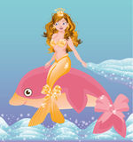 Young golden mermaid girl and pink dolphin Stock Image