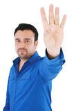 Young good looking man with counting fingers Stock Images