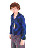Young goofy man looking miserable. Young goofy man in funny clothing looking miserable Royalty Free Stock Images
