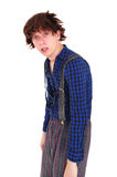 Young goofy man looking miserable. Young goofy man in funny clothing looking miserable Stock Photography