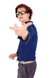 Young goofy man pointing at camera Royalty Free Stock Image