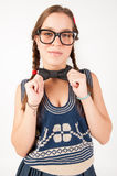 Young goofy and nerdy girl looking at camera. Stock Images