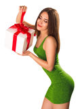 Young gorgeous brunette with gift box Stock Photo