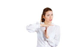 Young gorgeous businesswoman making time out sign Royalty Free Stock Photo