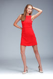 Young gorgeous caucasian blonde in red dress posing Royalty Free Stock Photo