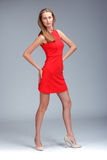 Young gorgeous caucasian blonde in red dress posing Royalty Free Stock Image