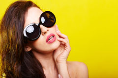 Young gorgeous caucasian woman wearing sunglasses Stock Photos