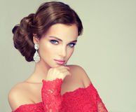 Free Young, Gorgeous Model Dressed In A Red Gown. Royalty Free Stock Photo - 71556545