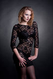Young gorgeous model in a lace dress Stock Images