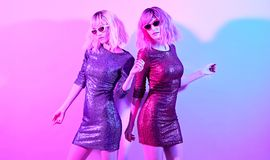 Fashion. Disco Party girl dance in Holiday Outfit stock images