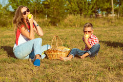 Young gorgeous mother and her little son having picnic Stock Images