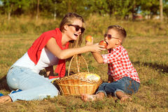 Young gorgeous mother and her little son having picnic Stock Photos