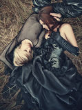 Young goth couple outdoors stock image