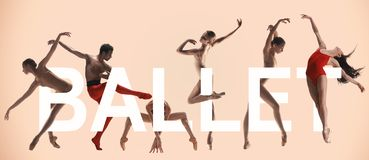 Young graceful female and male ballet dancers, creative collage. Young graceful ballet dancers with lettering. Woman`s and man`s beautiful dance in red clothes royalty free stock images