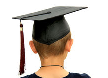 Young Graduate. View of back of youth with graduation cap, isolated on white Stock Images