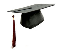 Young Graduate. View of back of youth with graduation cap, isolated on white Stock Photography