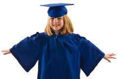 Young Graduate. A young graduate in her cap and gown, arms to the sides like she is flying. Isolated on white, horizontal layout with copy space Royalty Free Stock Images