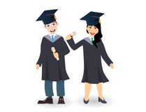 A young graduate man and woman with certificate or diploma scroll. Cartoon charcters illustration Stock Photo
