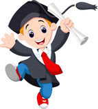Young graduate men. A young graduate man holding certificate jumping for joy Stock Images