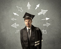 Young graduate student with hand drawn arrows Royalty Free Stock Photography