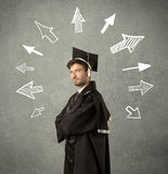 Young graduate student with hand drawn arrows Stock Photos