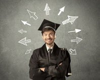 Young graduate student with hand drawn arrows Stock Image