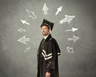 Young graduate student with hand drawn arrows Stock Images