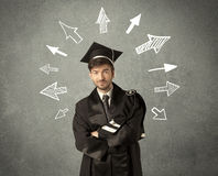 Young graduate student with hand drawn arrows Royalty Free Stock Images